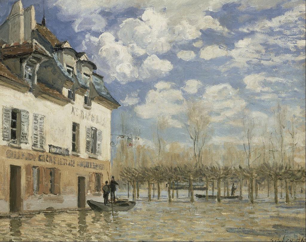 Alfred Sisley, La barca durante l'inondazione a Port-Marly, 1876, Museo d'Orsay, Parigi